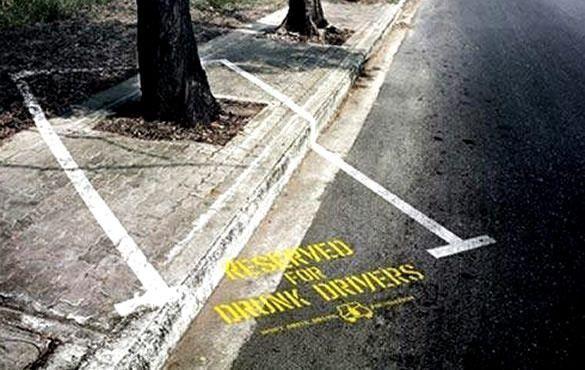 miejsce parkingowe dla pijanego kierowcy